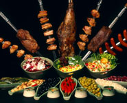 Traditional Brazilian food - churrascaria barbecue meat