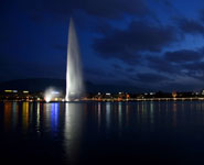 Geneva - the Lake and the famous Jet d'Eau fountain