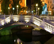Ljubljana - the Triple Bridge with Prešern Square, a favorite locals' meeting point