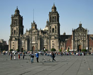 Mexico City, el Zocalo, and the Metropolitan Cathedral, city's biggest square and oldest church